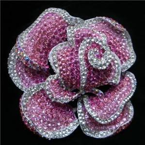Pink Silver AB Swarovski Crystals Rose Brooch Pin
