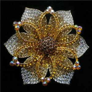 Giant Flower Brooch Pin Swarovski Crystals Clear AB Topaz
