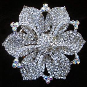 Large Flower Brooch Pin Swarovski Crystals Wedding, Belly dance, Burlesque, Drag, Costume