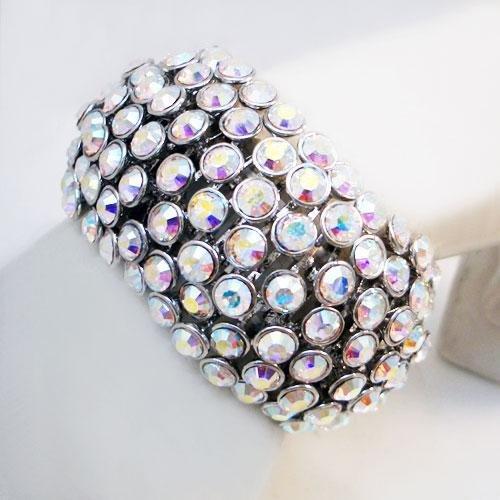 2 Bracelets: AB Crystals Matching Set