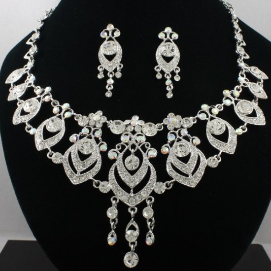 Necklace Earring Set: Crystals Rhinestones Victorian Vengance