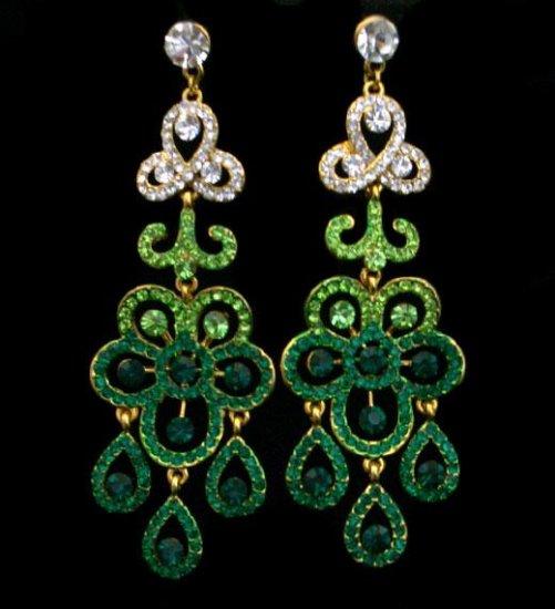 Elegant Flower Green Earrings