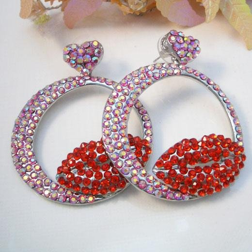Lipstick Kiss Earrings with Hearts
