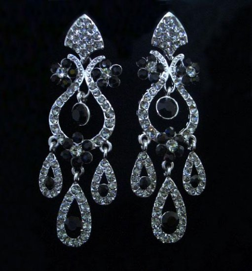 Black Crystal Earrings Vintage Reproduction Dangles