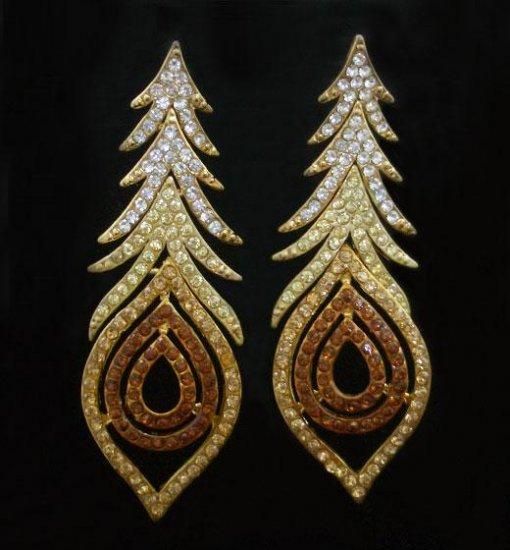Topaz & Clear Pecock Earrings