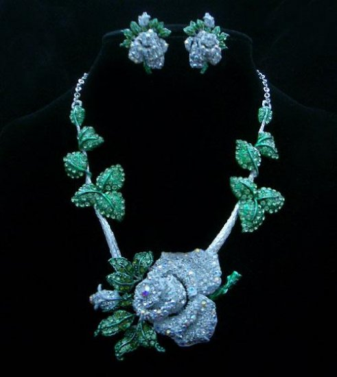 Crystal Necklace & Earrings Set - White, Green Leaves