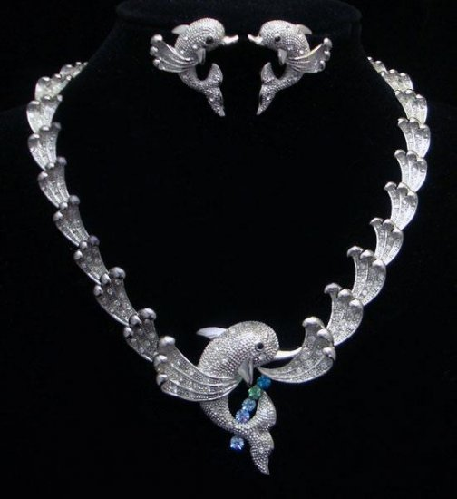 Silver Dolphin on Waves Necklace & Earring Set