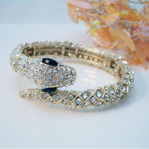 Diamond Back Gold Snake Bracelet with Clear Crystals