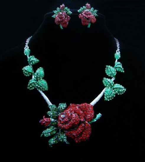 Red Roses, Green Leaves Crystal Necklace & Earrings Set