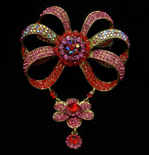 Pink & Red AB Crystal Bow Flower Brooch