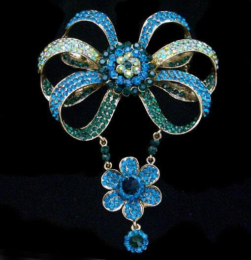 Turquoise & Green AB Crystal Bow Flower Brooch