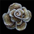 Gold Amber Topaz Crystal Rhinestone Rose Flower Brooch Vintage Inspired Pin Silver Metal