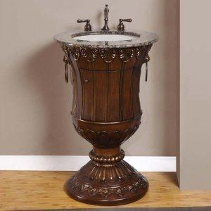 "23"" Jasmine - Bathroom Sink Vanity Cabinet Pedestal Baltic Brown Stone Top Stand 0141"