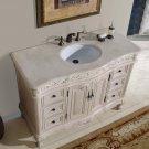"48"" Ella - Bathroom Cream Marfil Marble Top Sink Vanity White Oak Finish Cabinet 0152"
