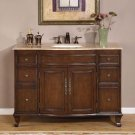 "48"" Natalie - Bathroom Vanity Single Sink Travertine Top Chestnut Finish Cabinet 0153"