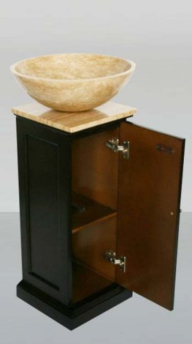 "12"" Neva - Bathroom Travertine Stone Vessel Sink Vanity Espresso Pedestal Stand 0156"