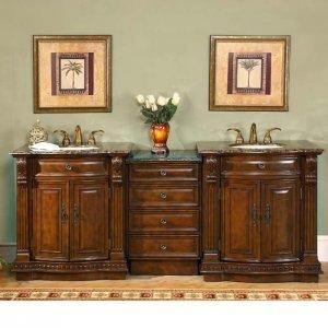 "84.5"" Monica - Double Bathroom Sink Vanity Cabinet Granite Top (Cherry Finish) 0206"