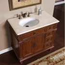 "36"" Caroline - Marble Top White Ceramic Left Sink Bathroom Single Vanity Cabinet 0210"