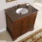 "36"" Amber - Granite Stone Counter Top Bathroom White Ceramic Sink Vanity Cabinet 0212"