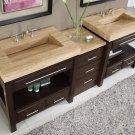 "92"" Sierra - Unique Travertine Top Bathroom Double Stone Sink Vanity Cabinet 0218"