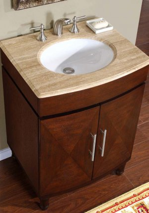 "26"" Cambridge - Travertine Stone Countertop White Sink Bathroom Vanity Cabinet 0220"