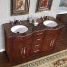 "58"" Cambridge - Baltic Brown Stone Top Double Bathroom Vanity White Sink Cabinet 0221"