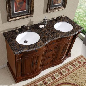 "55"" Monica - Granite Top Bathroom Double Sink Vanity Cabinet (Cherry Finish) 0223"