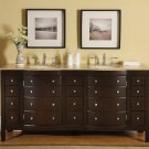"72"" Prima - Travertine Stone Top Dark Walnut Double Sink Bathroom Vanity Cabinet 0704"