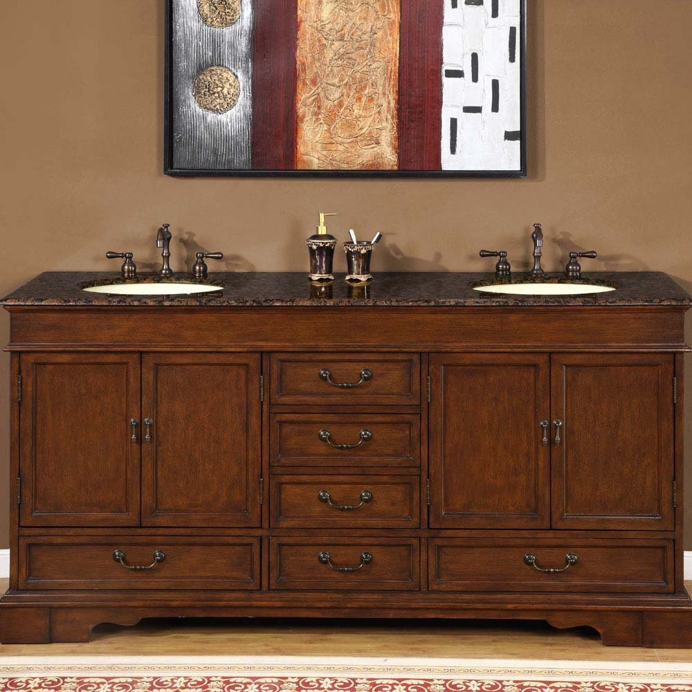 72 revanna granite bathroom double sink vanity cabinet for Bathroom 72 double vanity