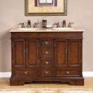 "48"" Sedona - Mini Compact Travertine Bathroom Dual Sink Double Vanity Cabinet 0715"