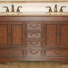 "60"" Ashley - Travertine Stone Top Lavatory Double Sink Bathroom Vanity Cabinet 0715"
