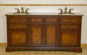 "72"" Bailey - Red Chestnut Finish Bathroom Vanity Double Sink Cabinet Granite Top 0716"