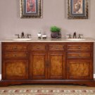 "72"" Bailey - Double Bathroom Vanity Travertine Top Lavatory Dual Sink Cabinet 0716"