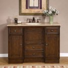 "48"" Alexis - Walnut Finish Cabinet Single Sink Bathroom Vanity Travertine Top 0718"