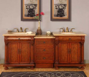 """82.5"""" Emily - Travertine Top Double Sink Bathroom Vanity Cabinet with LED Light 0723"""