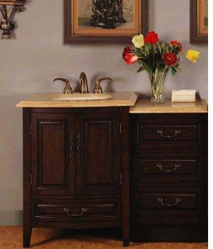 "46.5"" Evelyn - Single Sink Cabinet Travertine Top Bathroom LED Lighted Vanity 0726"