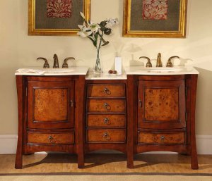 "67"" Vanessa - Marble Top Double Sink Bathroom Vanity Cabinet (Cherry Finish) 0727"