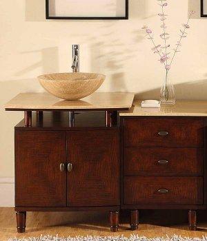 """46.5"""" Lydia - Modern Stone Single Sink Top Bathroom Vessel Vanity Drawer Cabinet 0808"""