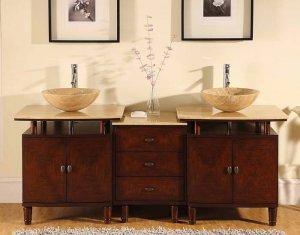 "73"" Lydia - Modern Double Travertine Stone Vessel Sink Bathroom Vanity Cabinet 0808"
