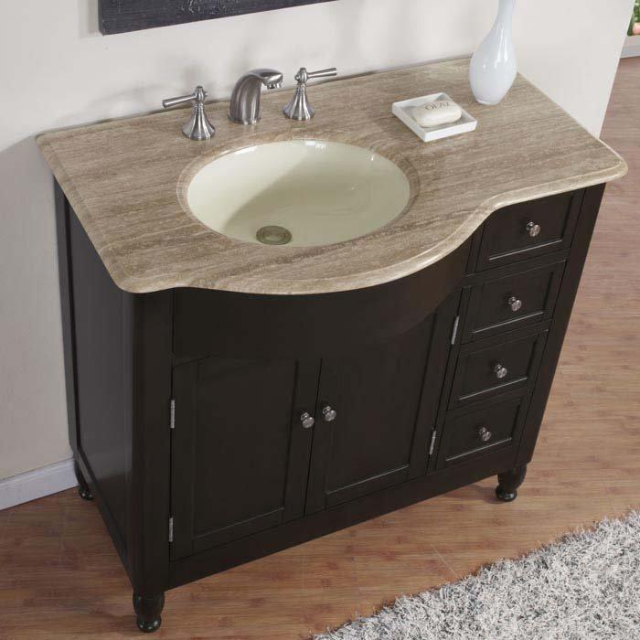 38 Kelston Travertine Top Bathroom Sink Vanity Off Center Cabinet Left 0902