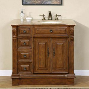 "38"" Empress - Travertine Top Bathroom Single Vanity Cabinet (Sink on the Right) 0904"