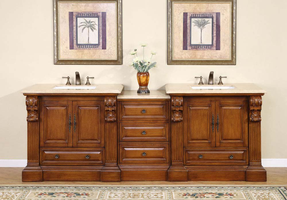 """95"""" Bravia - Bathroom Double Vanity Cabinet w/ Soft Close & Rectangle White Sink 0907"""