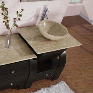 "49"" Kallista - Bathroom Single Vessel Sink Vanity Cabinet (Dark Walnut Finish) 0908"