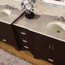 "89"" Ilene W - Marble Top Double Sink Stone Bathroom Furniture Vanity Cabinet 0910"