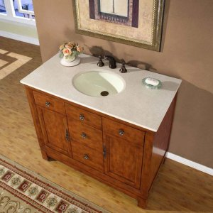 "42"" Frances W - Single Sink Bathroom Vanity Cabinet & Marble Top (Cherry Finish) 0911"