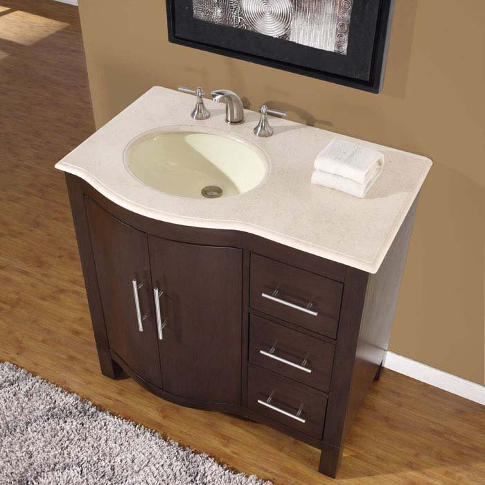 36 Kimberly Wl Marble Stone Top Single Bathroom Vanity Cabinet Left Side Sink 0912