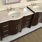 "89"" Kimberly W - Marble Stone Double Bathroom Vanity Sink Dark Walnut Cabinet 0912"