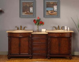 "84"" Kristina - Bathroom Travertine Top Double Sink LED-Lighted Vanity Cabinet 0193"