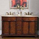 """60"""" Lauren - Bathroom Furniture Double Sink Vanity Cabinet Travertine Stone Top 0193"""