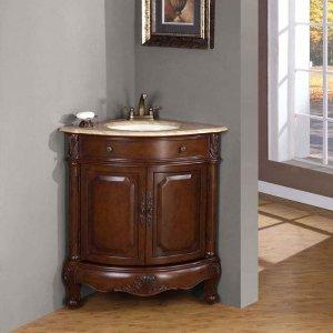 "32"" Hannah - Travertine Stone Top Corner Sink Bathroom Single Vanity Cabinet 0126"